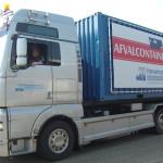 Lettertotaal spandoek op vrachtwagen Haverkamp